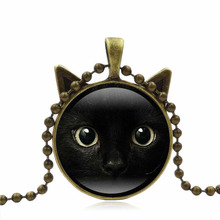 Unique Glass time gems 3 colors Chain Black Cat Picture Vintage Necklace Pendant message jewelry For Women girl gift