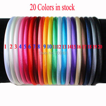 Free shipping 60 pcs/, 8mm solid Girls Satin Headband plain flowers Headbands girls Kids'Hair accessories, 20 colors(China)