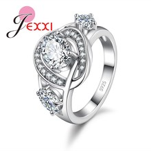 JEXXI Elegant Jewelry Stainless 925 Stamp Silver Rings Fashion Finger Decoration Women Wedding Rings White Blue Crystal Stone(China)