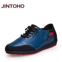 JINTOHO big size 37-47 male shoes casual fashion men's genuine leather leather moccasin luxury brand designer italian men shoes(China)