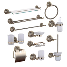 Bronze Bathroom Hardware Accessories Copper Shower Shampoo Soap Dish Glass Shelf Towel Rail Ring Cup Holder Toilet Brush Holder(China)