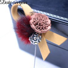 Mink Fur Hair Brooch Charm Leather Flower Brooch for Female Korean Fur Ball Perforated Lapel Pin and Brooch Collar Jewelry Gift(China)