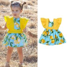 New Design 2017 Toddler Baby Kids Girls Lemon Print Princess Dress Clothes Outfits Infant Clothing Ternos