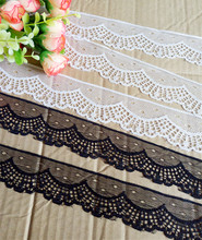 Width 40mm 12yards 2colors Embroidered Net Lace Trim fabric Garment ribbon headband wedding party decoration DIY Accessorie #158