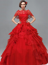 2015 Fashionable Ball Gown High Collar Appliqued Red Wedding Dress Lace Edge Lace Up Vestido De Noiva 2015 New Bridal Dresses