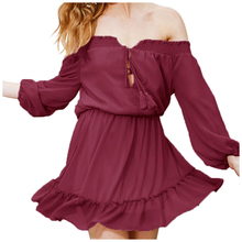 MAKE Women Summer Sexy Dress Vintage Off Shoulder Ruffles Party Dresses Sexy Slash Neck Belted Mini Dresses of party Casual(China)