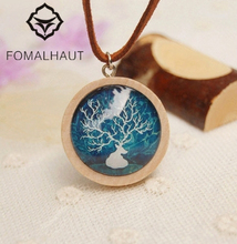 Hot Fashion Hand-painted Elk horn time gem Necklace Long Strip Leather Chain Wood Pendant Necklaces Women FOMALHAU Jewelry SX-39(China)