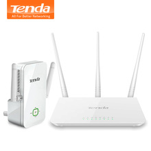 Tenda AR301 300Mpbs Router+Wireless Range Extender 2 in1 Kit, Automatic matching, 450 M2 Wifi Coverage for Big Houses & Offices