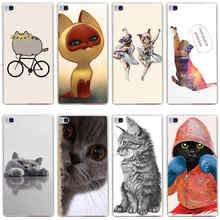 93GG funny  Grey Cat Hard Transparent Cover for Huawei P7 P8 P8 P9 Lite Honor 4C 5C 6 7 8 & Nova