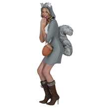 Sexy Squirrel Costume For Women Hooded Dresses With Big Tail Animals Costumes Cosplay Have An Acorn Purse Costume For New Year(China)