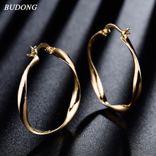 BUDONG Silver/Gold Color Fashion Circle Big Earrings Hoop Earring for Women 2 colors Twisted Shapes Vintage Jewelry XUE413(China)