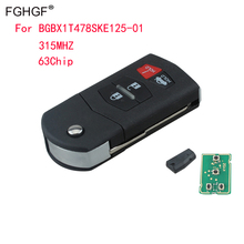 FGHGF New Flip Key Keyless Entry Remote Fob Transmitter Replacement For Mazda Remote Cover