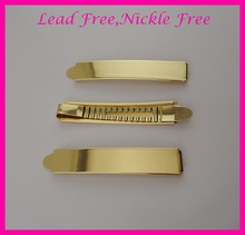 "10PCS  1.3CM*7.2cm 2.85"" Golden Plain Metal Slide Bobby pins at lead free and nickle free,metal hair barrettes clips"