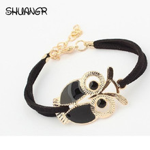 SHUANGR Vintage Cute Owl Accessories Design Colorful Bracelets For New Fashion Female Leather Bracelet Synthetic  Jewelry