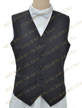 Free Shipping  Halloween Costume Concise Black Single Breasted Victorian Steampunk Waistcoat