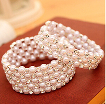 Luxurious Korean Temperament OL Silver Plated Full Rhinestone Simulated Pearl Multilayer Winding Wide Bangles B1324