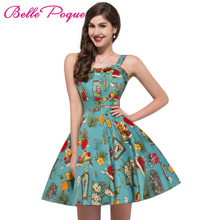 2017 Vintage 50s Dresses Retro Swing Pin Up Floral Rockabilly Dress Abendkleider Spaghetti Strap Design Women Vestidos For Party