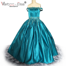Free Shipping Ball gown beads Appliques Lace Green Wedding Dresses 2017 Plus Size Floor Length Bridal Gowns satin Vestidos Novia(China)