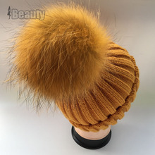 2016  Winter fur pompom hat for women wool cotton hat Big Real Raccoon fur pompom Beanies cap Fox fur bobble hat