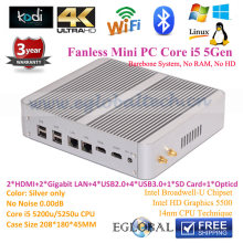 Big Stock ! Low Cost 3 Years Warranty Fanless Mini Pc  Intel Core I5 5257U Barebone NO RAM NO SSD With 2*LAN Dual HDMI Display
