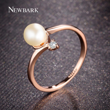 NEWBARK Fashion Rose Gold Color 1Pcs Simulated Pearl And 1pcs Tiny Rhinestones Accent Bypass Rings For Women Christmas Gifts(China)