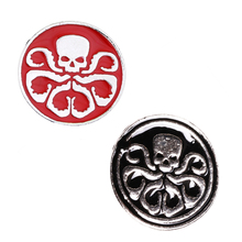 Hydra Pin Brooch Red Skull Metal Brooches Round Pins Cosplay Accessories