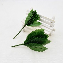 10pcs artificial flowers roses leaf silk flower leaves floral wedding decoration for home Christmas crafts packaging materials(China)
