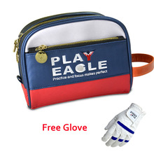 PLAYEAGLE Blue Multifunction Leather Golf Pouch Mini Waterproof Golf Handbag Golf Cart Bag Accessories with Free OEM Logo