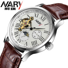 Brand Nary Fashion Men's Watch Skeleton Hand-Winding Mechanical Wristwatch Relogio Masculino High-grade Multi Function Watch