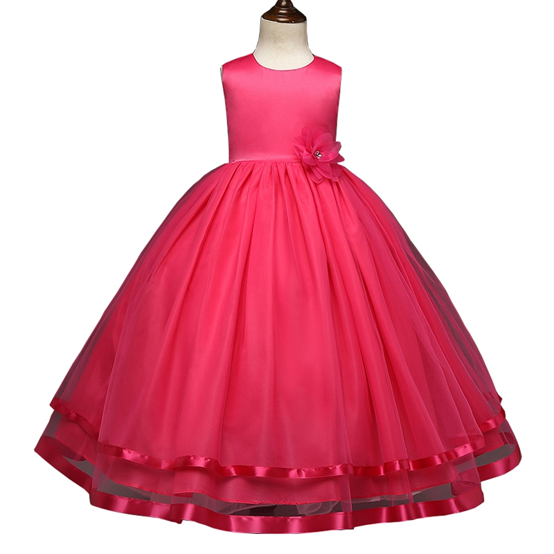 Kids Girls Ball Gown Dress 2017 New Arrival Princess Birthday Wedding Party Dress Mesh Lace Flower Dress Rose White 4-12Y GD81<br><br>Aliexpress