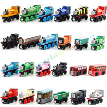 10pcs/Lot Wooden Magnetic Thomas Train Action Figure Toys Set Random Mixed Style Best Birthday Gift for Kids Children
