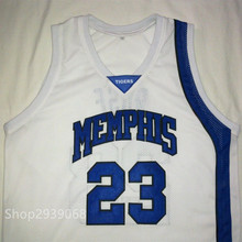 DERRICK ROSE Memphis Tigers White Black Blue Basketball Jersey Embroidery Stitched Customize any size and name