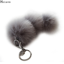 Big faux Fur PomPom KeyChain Rabbit Hair Bulb Bag pom pom Ball Handbag key chain Pendant poret clef for women Lovely Fluffy 30
