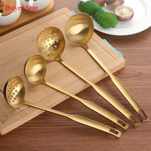 2 Pcs/Set Stainless Steel Cooking Tool Matt Polish Long Handle Soup Ladle Skimmer Golden Kitchen Accessories(China)