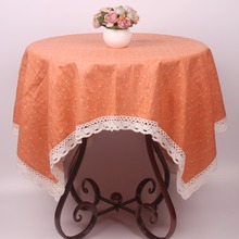 Small Flowers Orange Lacework Dinning Table Cloth / Pastoral Party Table Covers Cotton Linen Decorative Home Textile Tablecloth