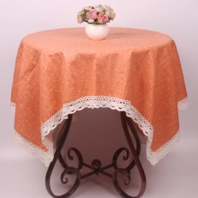 Small Flowers Orange Lacework Dinning Table Cloth / Pastoral Party Table Covers Cotton Linen Decorative Home Textile Tablecloth(China)