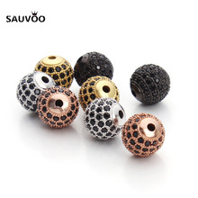 SAUVOO High Quality 2pcs/lot Round Black Micro CZ Crystal Rhinestone Pave Disco Ball Beads 10mm for DIY Jewlery Making Supplies
