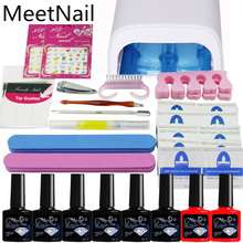 NAIL ART BASE TOOL 36W UV Lamp & 6 Color soak off Gel nail base gel top coat gel nail polish kit Manicure Sets & Kits(China)