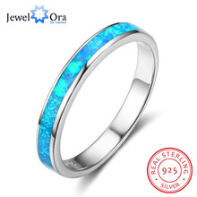 Fashion Blue Opal Stone Women Rings Simple Style 925 Sterling Silver Finger Ring Wedding Engagement Gift (JewelOra RI102839)