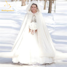 Bealegantom Elegant White 2016 Warm Bridal Cape Winter Fur Women Jacket Bridal Floor Length Cloaks Long Party Wedding Coat QA933(China)