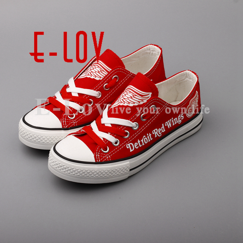 E-LOV Red Lace Shoes Detroit Red Wings Fans Customization Canvas Shoes Woman Girls Flat Shoes Drop Shipping<br>