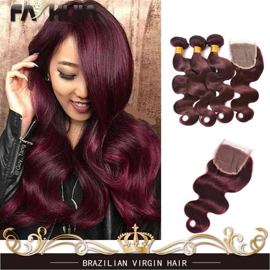 Burgundy Brazilian Body Wave 3 Bundles Burgundy Brazilian Hair Weave Bundles Red Wine 99J Brazilian Virgin Hair With 4x4 Closure<br><br>Aliexpress