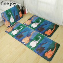 fine joy Creative home decorations Japanese cat door mat entrance mats home kitchen strip cartoon law Levin velvet slip mats