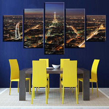 Modern Canvas Frame Printed Living Room Pictures Painting 5 Panel Paris Building Night View Modular Wall Art Home Decor Poster(China)