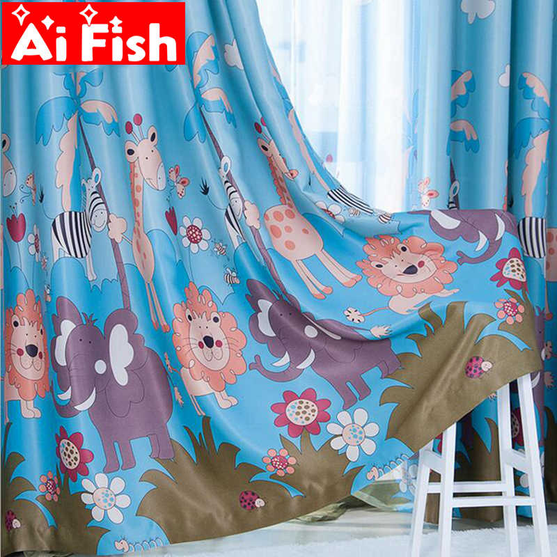 Korean Cartoon Lion Forest Print Curtains Fabric Boy's Bedroom Child Window For Tulle Curtains for Living Room Panels AP332-30