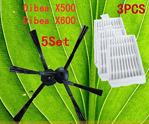Robot Vacuum Cleaner Accessories Pack for X500 X600 Ecovacs Mirror  Cr120 , Side Brush X 10pcs (5set)+ Hepa Filter X3pcs<br><br>Aliexpress