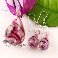 teadrop swirled pattern Italian lampwork murano glass necklaces pendants and earrings jewelry sets cheap ladies jewellery