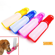 Durable Lovely pet dog drinking bottle 500ml five colors outdoor travel dog drinking water feeder bottle for small large dogs