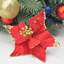 HAOCHU 5Pcs/lot 15cm triangularis leaves sequins shiny dusting Christmas Flower artificial fake flower for Xmas Tree decoration(China)