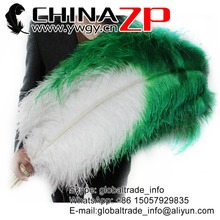 "CHINAZP Factory Size 70-75cm(28""-30"") 50pcs/lot Top Quality White With Green Tipped Unique Ostrich Drab Feathers"